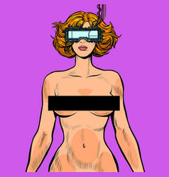 Virtual sex cyberpunk naked woman in cyberspace vector