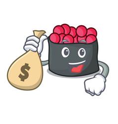 With money bag ikura character cartoon style vector