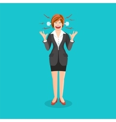 Woman full of anger is shouting something with vector image