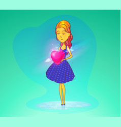 woman in love or girl holding heart vector image