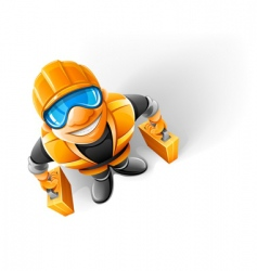 worker in helmet vector image