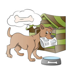 dog holding a newspaper vector image