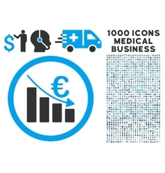 Euro Recession Icon with 1000 Medical Business vector image vector image