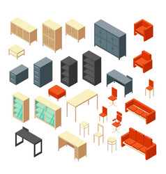 isometric 3d office furniture isolated interior vector image vector image