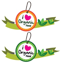 Organic food label set vector image