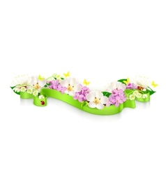 Spring flowers and ribbon vector image vector image