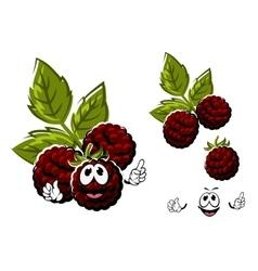 Cartoon blackberry berries fruits with leaves vector image