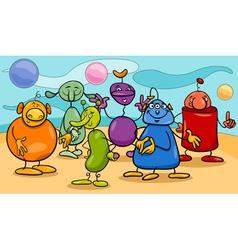 cartoon fantasy characters group vector image