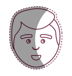 Contour man with facial expression and hairstyle vector
