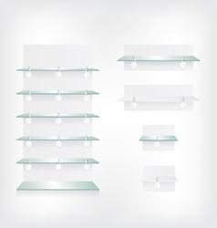 Empty shop glass shelves and wobbler vector image vector image