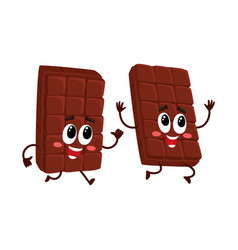 funny chocolate bar characters one chasing vector image vector image