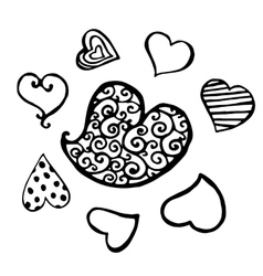 Set of black heart sketch isolated vector image vector image