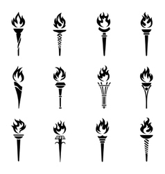 Torch icons set vector image