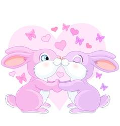 Valentine rabbits vector image