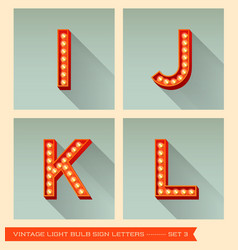 Vintage light bulb sign letters i j k l vector image