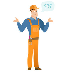 caucasian confused builder with spread arms vector image vector image