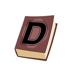 Letter D on e cover of book Old Edition with vector image