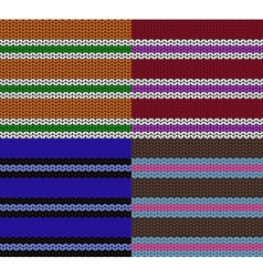 set of striped knitting patterns vector image vector image
