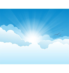 Sky with clouds and sun rays background vector image vector image