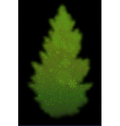 transparent green tree on a black background vector image vector image