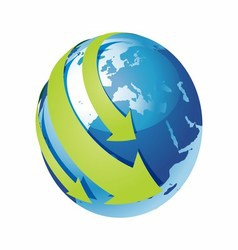 Blue Earth and Green Arrow Around vector image