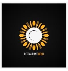 Food Logo Fork And Knife Label Background vector image