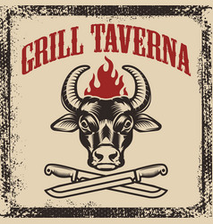 grill taverna bull head with two crossed knives vector image vector image