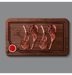 Realistic wooden cutting board meat vector image
