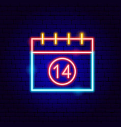 14 days calendar neon sign vector image