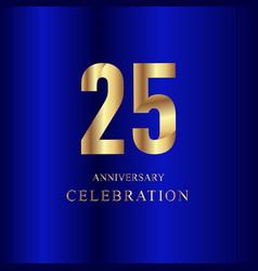25 year anniversary celebration gold blue vector