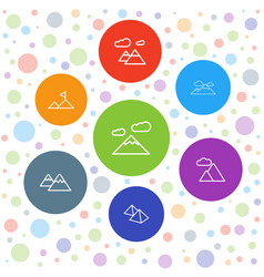 7 mountains icons vector image