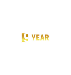 9 year happy birthday gold logo on white vector image