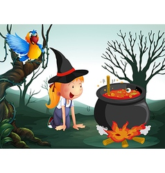 A witch in the jungle vector