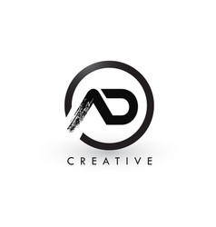 Ad brush letter logo design creative brushed vector