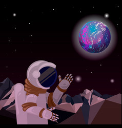an astronaut on a distant planet distant world in vector image