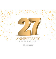 anniversary 26 gold 3d numbers vector image