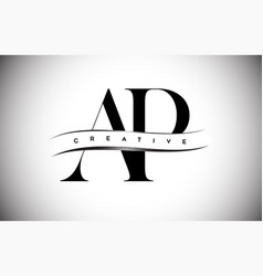 Ap letter logo with serif letter and creative cut vector