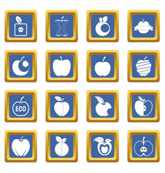 apple icons set blue vector image