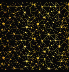 black and gold stars network seamless pattern vector image