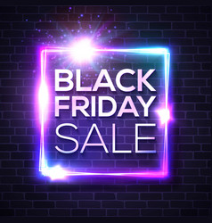black friday sale neon sign square sign on brick vector image
