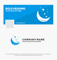 blue business logo template for moon night star vector image