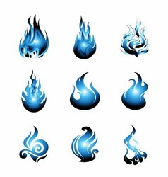 Blue Fire Symbol Icon Set vector image
