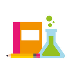 book test tube and pencil supplies school vector image