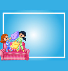 Border template with girls and pillow fight vector