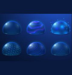 bubble shields protect field futuristic energy vector image