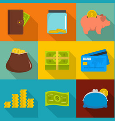 Business impact icons set flat style vector
