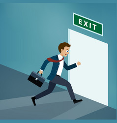businessman runs to exit door vector image