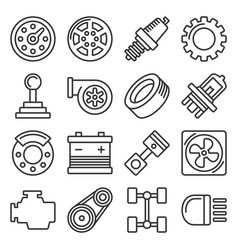 Car parts icons set on white background line vector