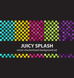 Checkerboard pattern set juicy splash seamless vector