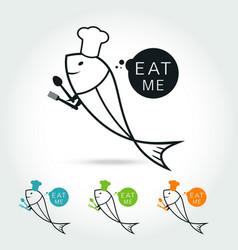 chef fish logo vector image